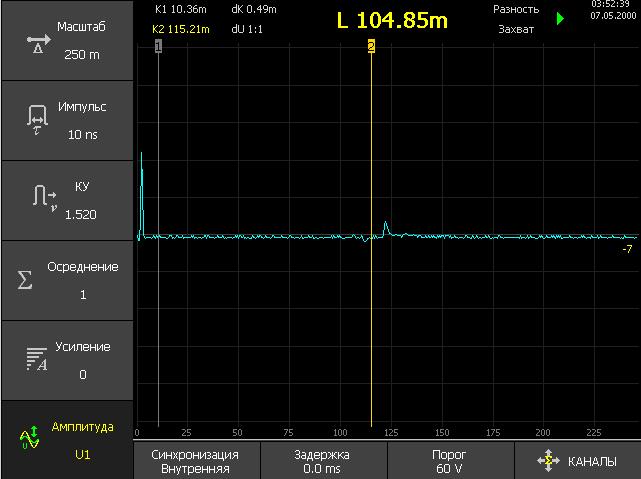 Рефлектограмма КЛ снятая рефлектометром РИ-407 , длительность импульса 10 нс, амплитуда U1 (10 В). Неоднородностина дальнем конце КЛ практически не видны на фоне шумов.