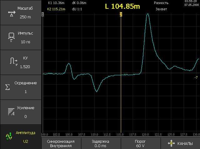 Детальный просмотр рефлектограммы на дальнем конце КЛ с помощью горизонтальной растяжки в области курсора.